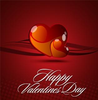 バレンタインデー カードの背景見本 Heart valentine day card vector イラスト素材1