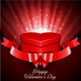 赤いリボン飾りのハート型プレゼント箱 Heart Gift Present with Fly Hearts Valentine's Day Background イラスト素材