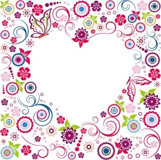 花弁でハート型に抜いたフレーム Valentine Flowers Frame イラスト素材