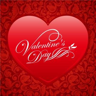 赤いハートのバレンタインデー背景 Red Floral Heart Valentine Vector Background イラスト素材