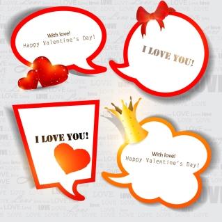 バレンタインデー飾りの吹出し Valentine hearts bows ribbon dialog boxes イラスト素材