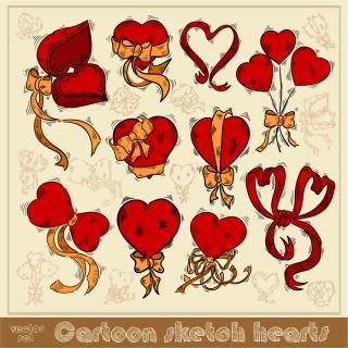 手描きスケッチ風のハート飾り exquisite handpainted red heart イラスト素材