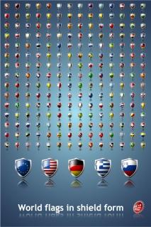 シールドデザインの各国国旗 sophisticated national flag icon イラスト素材