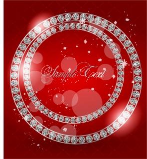 輝くダイヤモンドを円形に並べた背景 bright diamonds Valentine's Day greeting cards background イラスト素材