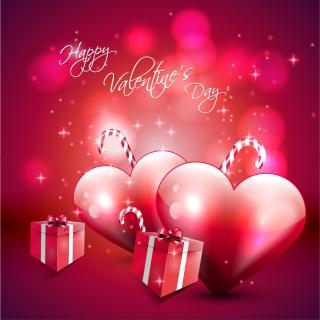 赤いハートとギフトボックスが光るバレンタインデーの背景 Valentine's Day Vector Red
