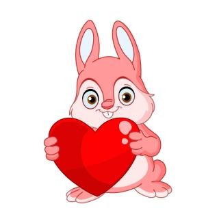 ハート型と可愛い動物のクリップアート Heart valentine cute animals vector イラスト素材1