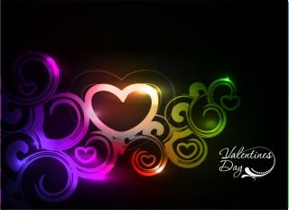 虹色の光で描くバレンタインデーの背景 Heart symphony of love valentine day イラスト素材4