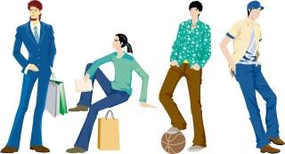 ポーズを取る男性のクリップアート 60 men vector fashion models イラスト素材
