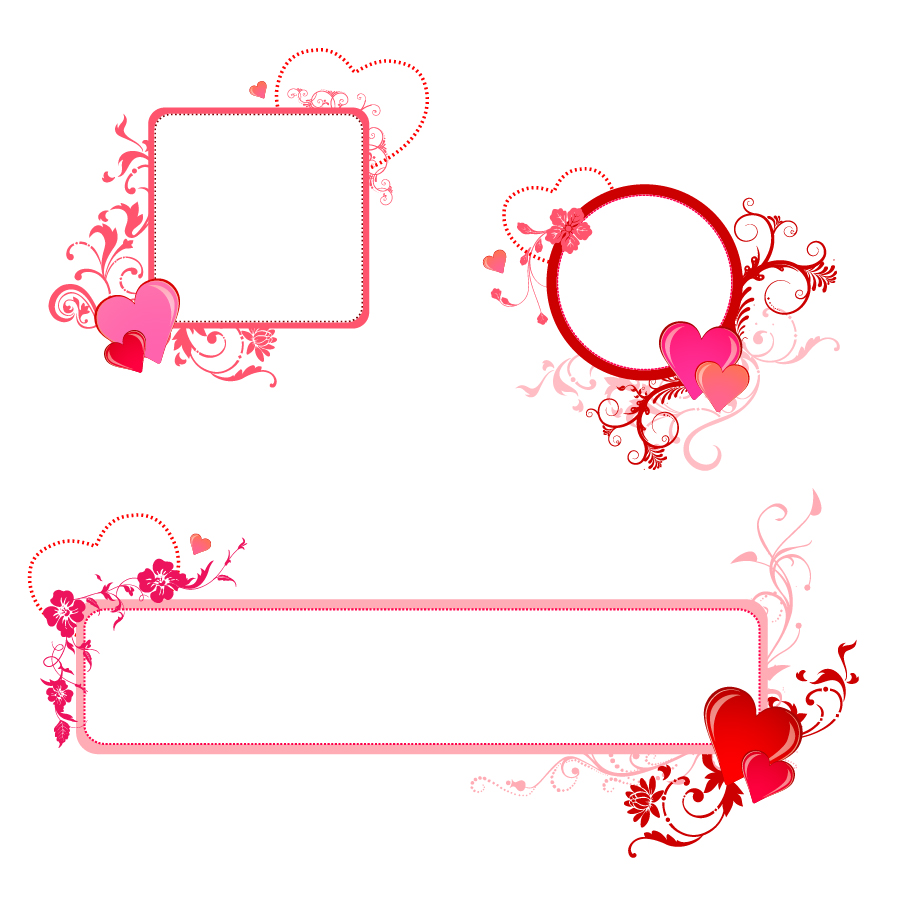 お洒落なハートを配置したフレーム heart valentine border イラスト
