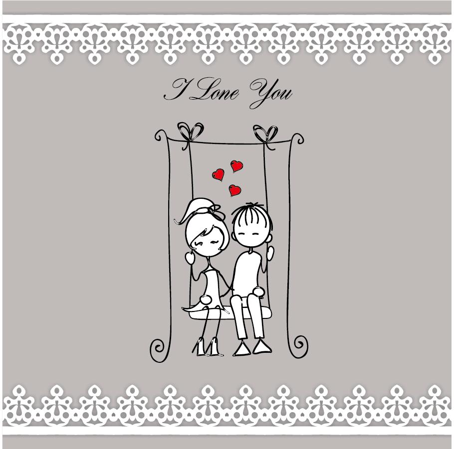 カップルを線画で描いたバレンタインデーの背景 heart lines issued on