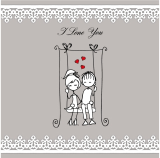 カップルを線画で描いたバレンタインデーの背景 Heart lines issued on valentine day illustrations イラスト素材