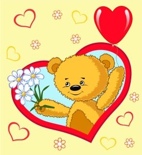 ハート型と可愛い動物のクリップアート Heart valentine cute animals vector イラスト素材4