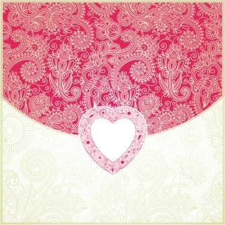 ハート型のペイズリー柄背景 Heart-shaped Valentine's Day card pattern イラスト素材