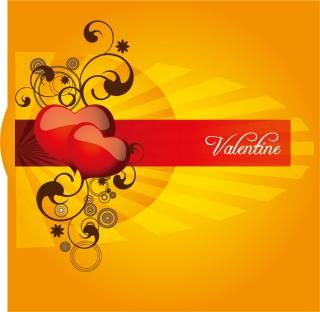 帯に反射するハートを配置したバレンタインデーの背景 Vector Heart Valentine イラスト素材