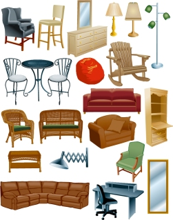 家具のクリップアート variety of furniture clip art イラスト素材