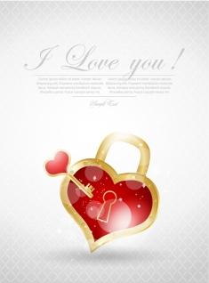 ハート型錠前のバレンタインデーカード Valentine's Day greeting cards heart locks イラスト素材