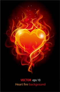 炎に包まれたクリップアート Flame fire combustion materials イラスト素材1