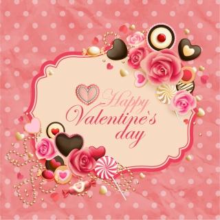 花とハートで飾ったバレンタインデー カード Heart oldfashioned valentine cards イラスト素材