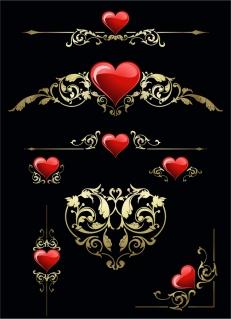 ハート型の飾り罫 heart-shaped pattern edge border イラスト素材