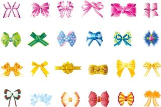 美しい蝶結びのりボン beautiful bow colorful different styles イラスト素材