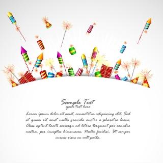 行事を祝うロケット花火 cartoon festival fireworks firecrackers イラスト素材