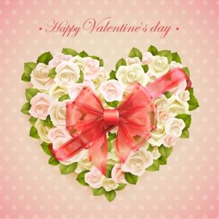 バレンタインデー ハート型花飾りにシルクのリボン Valentine's Day flowers silk scarf bow background イラスト素材