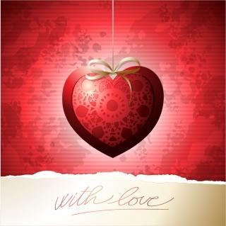 お洒落なハート型ペンダントの背景 Exquisite Valentine's Day greeting cards labels hearts イラスト素材