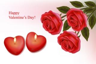 ハート型キャンドルと薔薇の背景 Romantic Valentine's Day elements roses candles イラスト素材