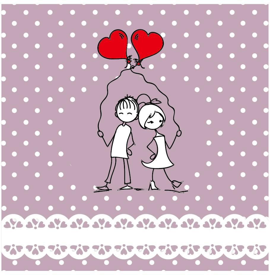 赤い風船を持ったバレンタインデーのカップル heart lines valentine day