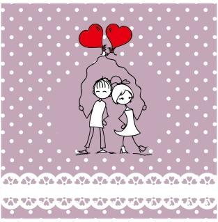 赤い風船を持ったバレンタインデーのカップル Heart lines valentine day illustrations イラスト素材