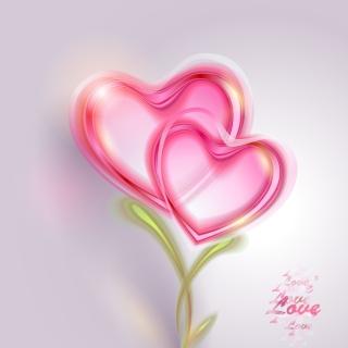 ピンクに光るハートのバレンタインデー背景 Pink Valentine card Vector Background イラスト素材