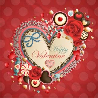 ハートをお洒落に飾付けたバレンタインデー背景 Heart oldfashioned valentine cards イラスト素材