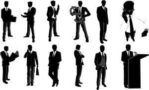 働くビジネスマンのシルエット Businessman Silhouettes イラスト素材