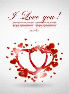 ハート型リングのバレンタインデーカード Valentine's Day greeting cards ribbons heart イラスト素材