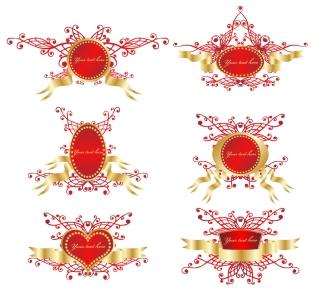 ロマンチックなリボン飾りの盾型フレーム romantic ribbon vector shield badge イラスト素材