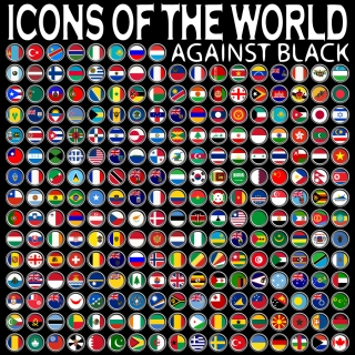 世界国旗の円形バッジ アイコン sophisticated national flag icon イラスト素材