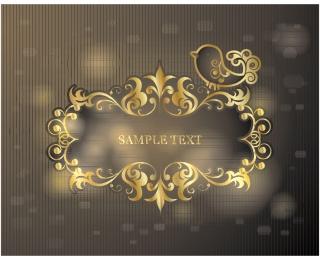 豪華な金色のテキストフレーム carved borders lace イラスト素材
