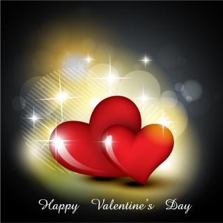 ハート飾りのバレンタインデー カード背景 heart-shaped romantic love cards イラスト素材3