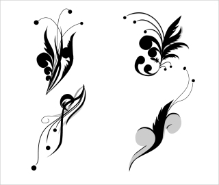 植物飾りのシルエット floral swirls ornament イラスト素材