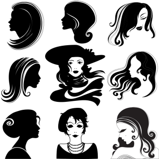 女性の横顔のシルエット Female portrait figure silhouette イラスト素材