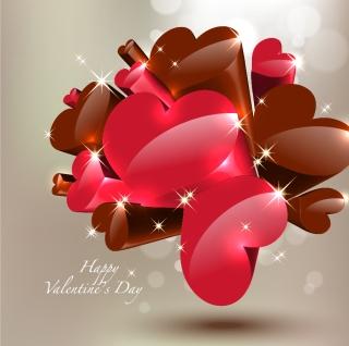 立体的なバレンタイン チョコレート three-dimensional heart-shaped chocolate イラスト素材4