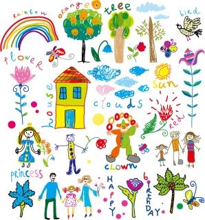 可愛い子供の落書き cheerful children clip art illustrations イラスト素材