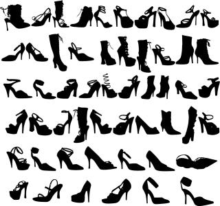 お洒落なファッション シューズのシルエット Beauty Fashion Shoes Silhouettes Vector Graphic イラスト素材