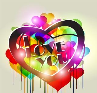 カラフルなハートを組み合わせた背景 combination of fashion heart shape vector イラスト素材6
