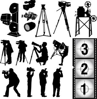 映画機材とカメラマンのシルエット photographic equipment vector イラスト素材4