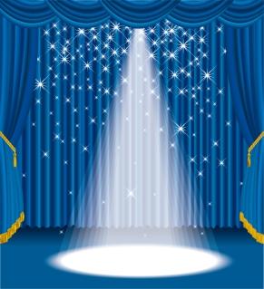 スポットライトが輝く青いカーテンのステージ focus spotlight curtain opening Stage イラスト素材