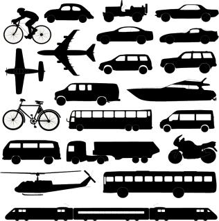 乗り物のシルエットとクリップアート Transport silhouette イラスト素材