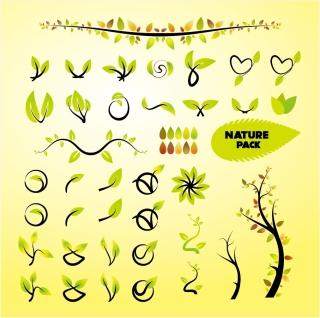 木の葉のクリップアート green leaves and tree vector clip art イラスト素材