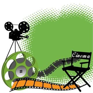 映画機材とカメラマンのシルエット photographic equipment vector イラスト素材3