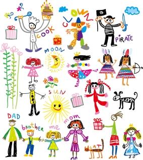 可愛い子供の落書き cheerful children clip art illustrations イラスト素材2